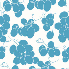 Fototapeta Vector illustration seamless pattern or background with grape berries, brunches. obraz