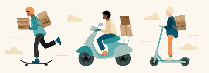 Fototapeta Set of delivery man riding scooter, skateboard, bicycle, moped. Hand drawn illustration in modern, trendy colors. Delivery servise concept. obraz