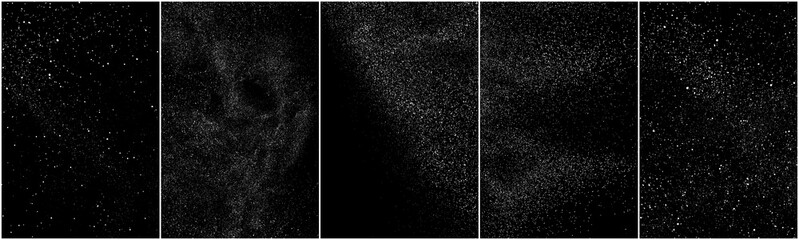Obraz Set of distressed white grainy texture. Dust overlay textured. Grain noise particles. Snow effects pack. Rusted black background. Vector illustration, EPS 10.   - fototapety do salonu