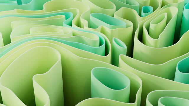 Aqua and Green 3D Ribbons arranged to create a Multicolored abstract wallpaper. 3D Render.