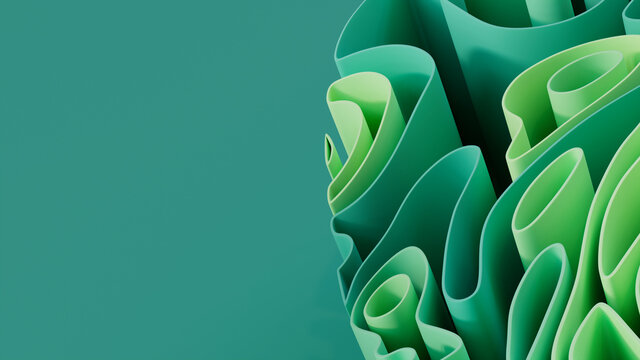 Abstract background formed from Green 3D Ribbons. Colorful. 3D Render with copy-space.