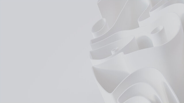 Abstract wallpaper formed from White 3D Waves. Light 3D Render with copy-space.