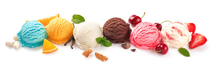 Fototapeta Assorted of ice cream scoops on white background. Colorful set of ice cream scoops of different flavours. Ice cream isolated with nuts, fruits and berries. obraz