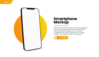 Fototapeta Black realistic smartphone vector mockup on the yellow circle. 3d mobile phone with blank white screen. Modern cell phone template on gradient background. obraz