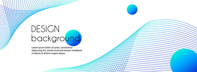 Long vector abstract banner with blue wavy lines. Minimal background for facebook cover, web header design with copy space for text