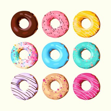 Vector set of high detailed tasty donuts