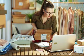 Fototapeta stylish small business owner woman using laptop in office obraz