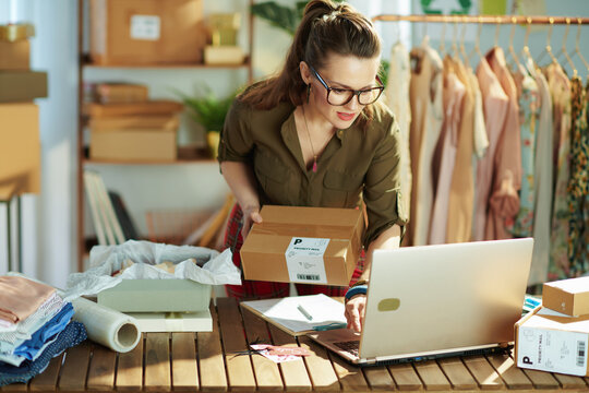stylish small business owner woman using laptop in office