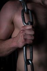 Fototapeta Pięść łańcuch kości dłoń siłownia klatka piersiowa obraz