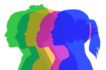 Obraz PrintMultiethnic women communicate, vector illustration. Female faces of diverse cultures in propfile - fototapety do salonu