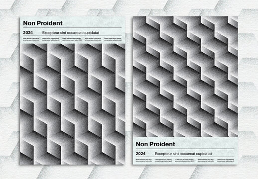 Isometric Cube Pattern Poster Design Layout with Stipple Effect