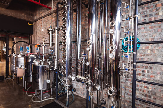 View of industrial machinery and equipment for gin production at gin distillery