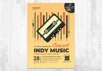 Fototapeta Indy Music Festival Poster Flyer with Indie Vintage Tape obraz