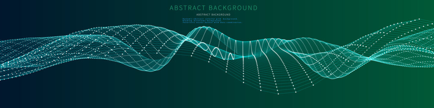 Abstract wavy grid on color background.  Futuristic surface wireframe concept. Vector banner with dots and lines combination.