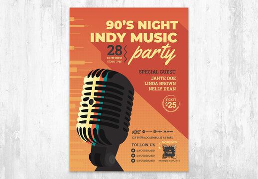 Indy Indie Music Festival Flyer with Vintage Microphone