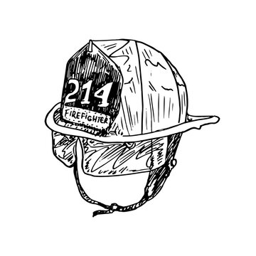 Firefighter helmet,  gravure style ink drawing illustration isolated on white