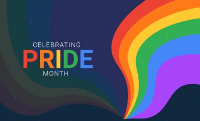 Obraz Celebrating pride month. Horizontal banner for LGBT events. - fototapety do salonu