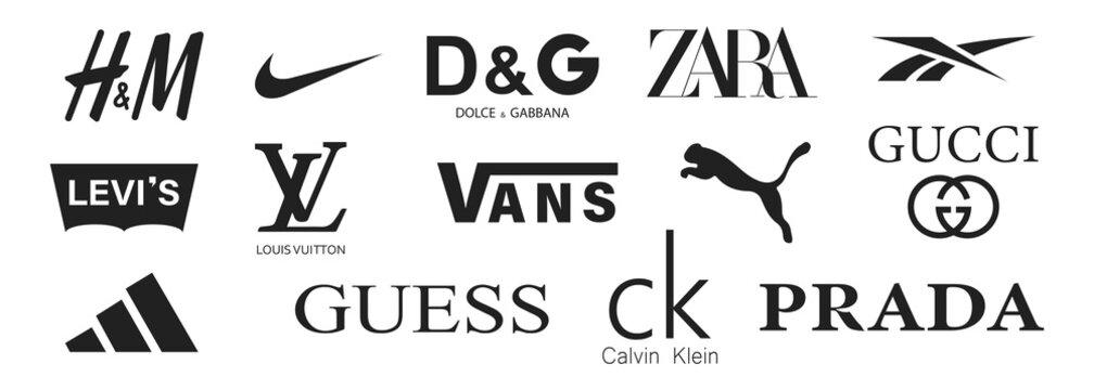 Kiev, Ukraine - June 1, 2021: Kiev, Ukraine - June 1, 2021: Popular clothing brands logotype. Vector illustration. Nike Adidas Gucci Puma Vans brand logo emblem. White background.