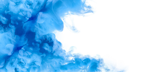 Blue Acrylic Ink in Water. Color Explosion. Paint Texture. Blue abstract banner