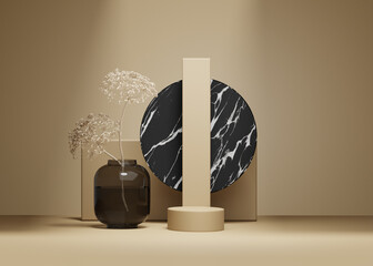 3D background, nude beige pedestal podium. Natural dry plant and shadow on pastel nude. Cosmetic product promotion Beauty black marble stone display. Studio Minimal showcase 3D render advertisement.