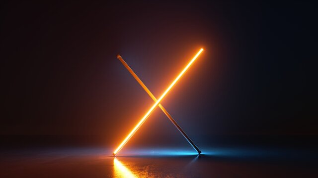 3d render, abstract neon background with crossed lines glowing with yellow light