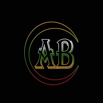 AB letter logo design on black background