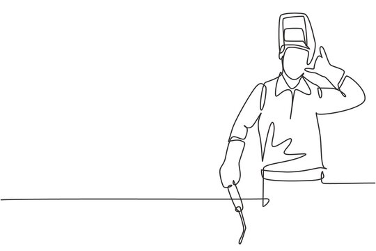 Single continuous line drawing welder with call me gesture works in the construction of building forming steel frame that is melted by fire. Dynamic one line draw graphic design vector illustration
