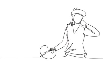 Continuous one line drawing female artist painter with call me gesture using painting tools such as brushes, canvas, watercolors in producing art. Single line draw design vector graphic illustration