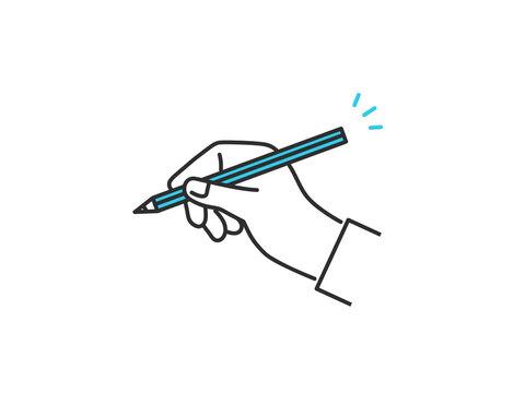 鉛筆を持つ手のイメージイラスト素材