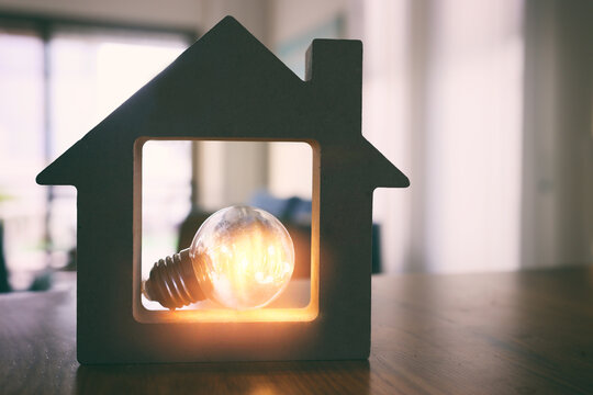 Wood house with Light bulb. energy concept or invention