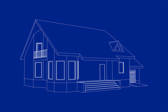 3D suburban house model. Drawing of the modern building. Cottage project on blue background. Interesting vector blueprint.