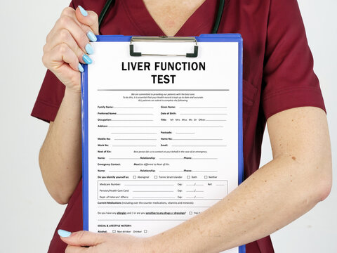 LIVER FUNCTION TEST sign on the page.