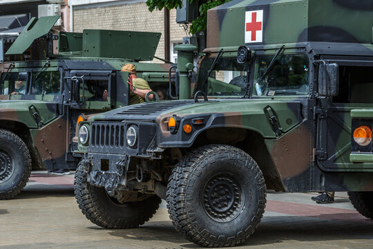 Khmelnitsky. Ukraine. May 23, 2021.Military vehicles., modern military industry. Ukrainian soldiers at the parade for the day of heroes,