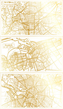 Dunkirk, Dijon and Clermont Ferrand France City Map Set.