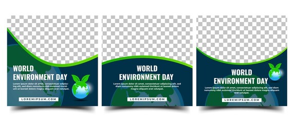 Obraz World Environment Day Social Media Template. Set of Square Banner Template Design With Globe and Leaf illustration. Vector Design with Place for The Photo. - fototapety do salonu