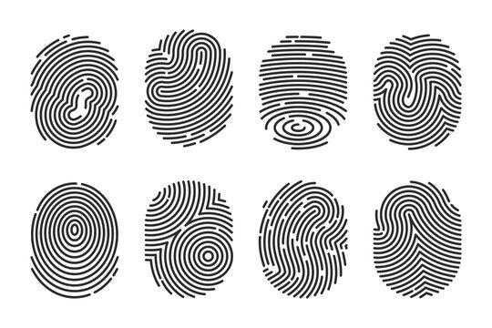 Black detailed fingerprints flat illustration set
