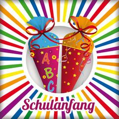 Obraz Schulanfang Cover mit zwei Zuckertüten - fototapety do salonu