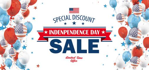 Obraz Independence Day Sale USA Balloons Stars Header - fototapety do salonu