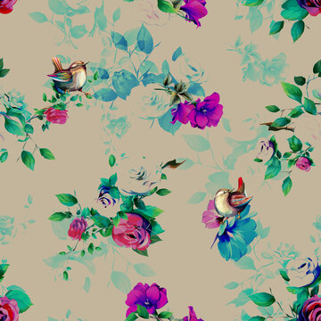 Seamless background pattern with peony, wild, abstract flowers and wren birds on dark. Hand drawn vector illustration for different design purpose.