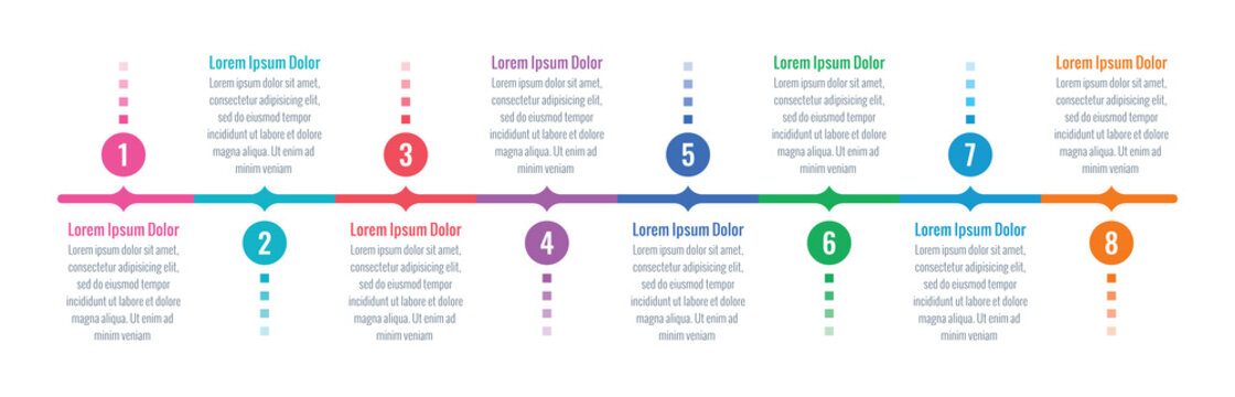 eight steps timeline template. annual report, magazine, web, internet infographic template. business infographic template