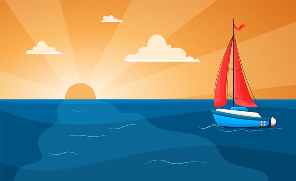 Vector illustration of a yacht at sea on a sunset background. Sailing. Yacht with scarlet sails in flat style. Sunset at sea with sailboat and seagulls. Summer vacation vector background
