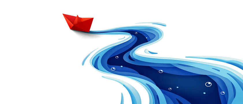 Success leadership concept, The journey of the origami red paper boat on winding blue river, Paper art design banner background