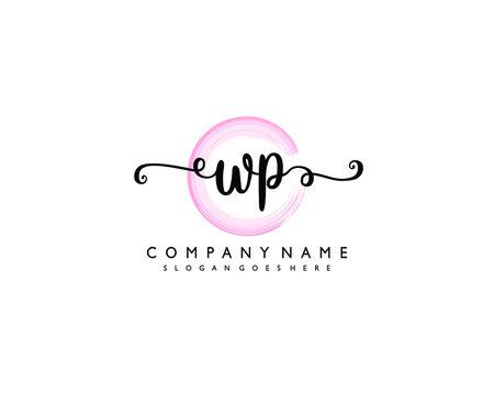 Initial WP Handwriting monogram logo Vector