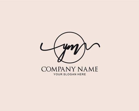 Initial YM Handwriting monogram logo Vector