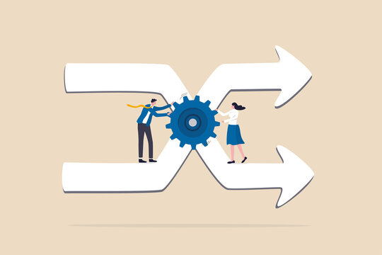 Change management, professional or expertise to manage company transformation or implement new process concept, business man staff team help turn gear cog to manage change direction arrows.
