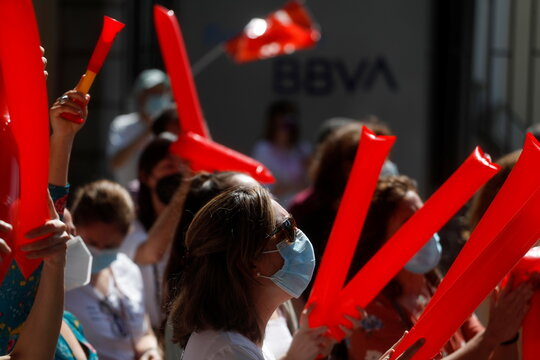 Protest against plans by BBVA to cut its banking staff in its home market in Madrid