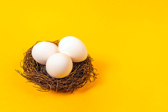 Eggs in brown nest made of twigs. Fresh chicken eggs with copy space. Easter decor