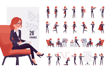 Obraz Businesswoman, young red haired office worker character set, pose sequences. Manager in formal wear, administrative person, corporate employee. Full length, different gestures, emotions, positions - fototapety do salonu