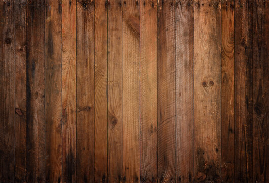 Old wood background texture. Vintage weathered rough planks with rusty nails, evenly sharp and detailed backdrop.