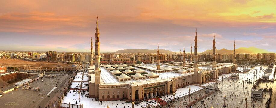 High Quality panorama Photo. Wide arial photo of Masjid Al Nabawi Mosque in Madinah, Saudi Arabia. 3-3-2019
